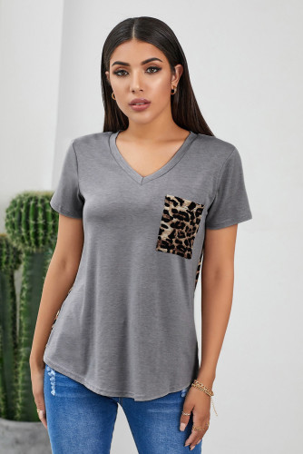 Gray Leopard Printed Splicing T-Shirt
