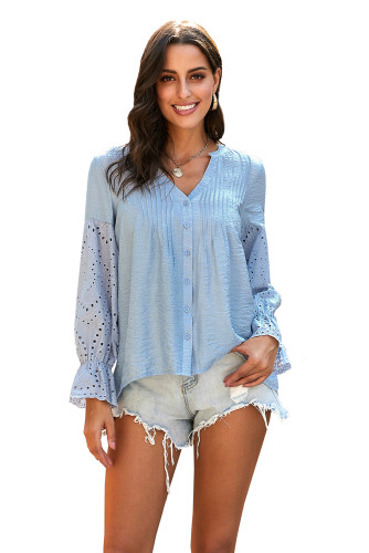 Sky Blue Rekindle Eyelet Button Up Top