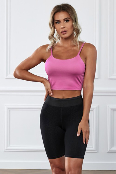 Pink Wireless Seamless Sport Yoga Bra Crop Tank