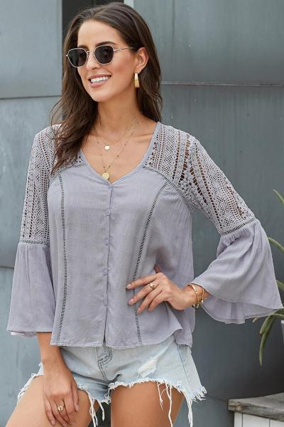 Gray The Du Jour Crochet Blouse
