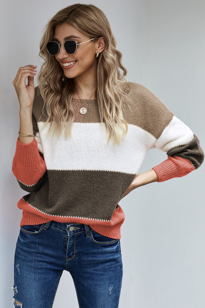 Brown Pullover Colorblock Winter Sweater