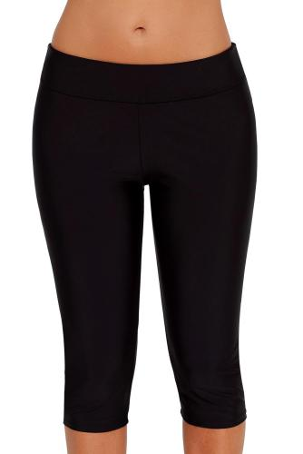 Black Mid Waist Crop Swim Leggings