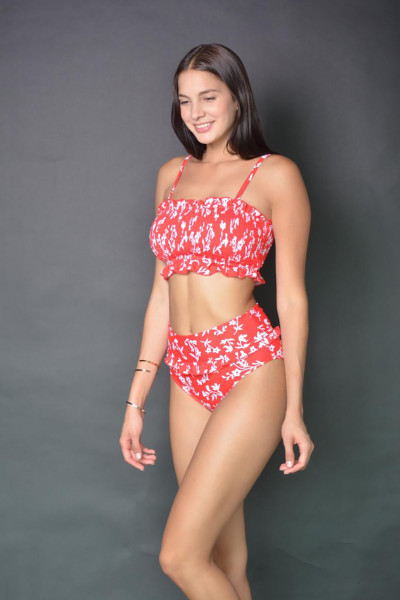 Red Floral Print Crop Top Bikini Set
